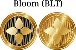 Set of physical golden coin Bloom BLT. Digital cryptocurrency. Bloom BLT icon set. Vector illustration isolated on white background Royalty Free Stock Photo