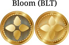 Set of physical golden coin Bloom BLT. Digital cryptocurrency. Bloom BLT icon set. Vector illustration isolated on white background Royalty Free Stock Image