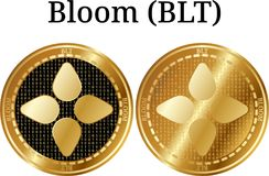 Set of physical golden coin Bloom BLT. Digital cryptocurrency. Bloom BLT icon set. Vector illustration isolated on white background Stock Images