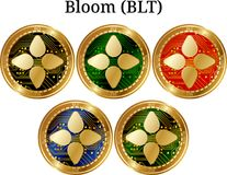 Set of physical golden coin Bloom BLT. Digital cryptocurrency. Bloom BLT icon set. Vector illustration isolated on white background Stock Photos