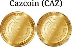 Set of physical golden coin Cazcoin CAZ Stock Photos