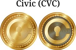 Set of physical golden coin Civic CVC. Digital cryptocurrency. Civic CVC icon set. Vector illustration isolated on white background Stock Photos