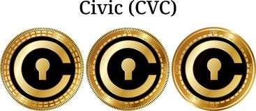 Set of physical golden coin Civic CVC. Digital cryptocurrency. Civic CVC icon set. Vector illustration isolated on white background Royalty Free Stock Photo