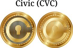 Set of physical golden coin Civic CVC. Digital cryptocurrency. Civic CVC icon set. Vector illustration isolated on white background Stock Photography
