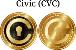 Set of physical golden coin Civic CVC. Digital cryptocurrency. Civic CVC icon set. Vector illustration isolated on white background Stock Image