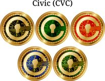 Set of physical golden coin Civic CVC. Digital cryptocurrency. Civic CVC icon set. Vector illustration isolated on white background Stock Photo