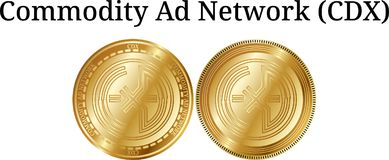 Set of physical golden coin Commodity Ad Network CDX, digital cryptocurrency. Commodity Ad Network CDX icon set. Vector illustration  on white background Stock Photography