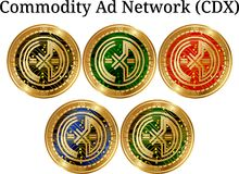 Set of physical golden coin Commodity-Ad-Network CDX, digital cryptocurrency. Commodity-Ad-Network CDX icon set. Vector illustration isolated on white Stock Image