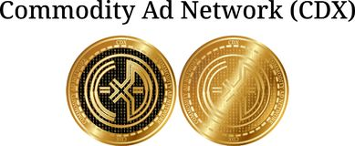 Set of physical golden coin Commodity Ad Network CDX, digital cryptocurrency. Commodity Ad Network CDX icon set. Vector illustration isolated on white Stock Photo