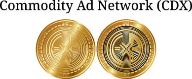Set of physical golden coin Commodity Ad Network CDX, digital cryptocurrency. Commodity Ad Network CDX icon set. Vector illustration isolated on white Stock Images