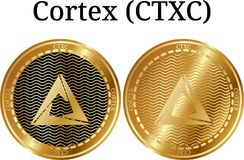 Set of physical golden coin Cortex (CTXC). Digital cryptocurrency. Cortex (CTXC) icon set. Vector illustration isolated on white background stock illustration