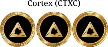 Set of physical golden coin Cortex CTXC. Digital cryptocurrency. Cortex CTXC icon set. Vector illustration isolated on white background vector illustration