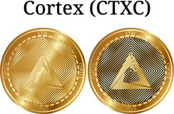 Set of physical golden coin Cortex CTXC. Digital cryptocurrency. Cortex CTXC icon set. Vector illustration isolated on white background royalty free illustration