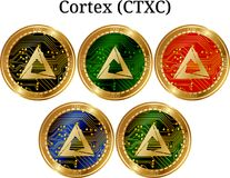 Set of physical golden coin Cortex CTXC. Digital cryptocurrency. Cortex CTXC icon set. Vector illustration isolated on white background stock illustration
