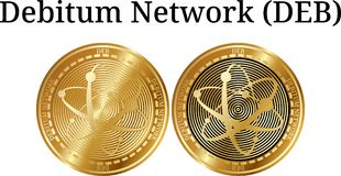Set of physical golden coin Debitum Network DEB Royalty Free Stock Images