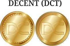 Set of physical golden coin DECENT DCT. Digital cryptocurrency. DECENT DCT icon set. Vector illustration isolated on white background Stock Image