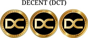 Set of physical golden coin DECENT DCT. Digital cryptocurrency. DECENT DCT icon set. Vector illustration isolated on white background Royalty Free Stock Images