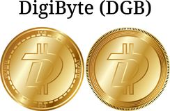 Set of physical golden coin DigiByte DGB, digital cryptocurrency. DigiByte DGB icon set. vector illustration