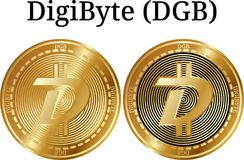 Set of physical golden coin DigiByte DGB, digital cryptocurrency. DigiByte DGB icon set. royalty free stock photo