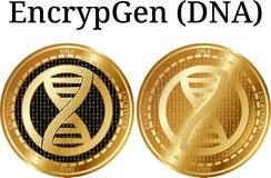 Set of physical golden coin EncrypGen DNA royalty free stock image