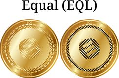 Set of physical golden coin Equal EQL. Digital cryptocurrency. Equal EQL icon set. Vector illustration isolated on white background Royalty Free Stock Image