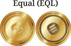 Set of physical golden coin Equal EQL. Digital cryptocurrency. Equal EQL icon set. Vector illustration isolated on white background Stock Photos
