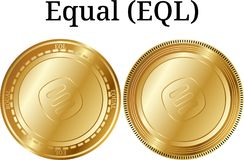 Set of physical golden coin Equal EQL. Digital cryptocurrency. Equal EQL icon set. Vector illustration isolated on white background Royalty Free Stock Photos