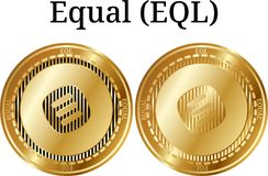 Set of physical golden coin Equal EQL. Digital cryptocurrency. Equal EQL icon set. Vector illustration isolated on white background Stock Photography