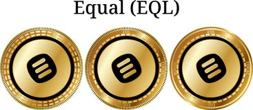 Set of physical golden coin Equal EQL. Digital cryptocurrency. Equal EQL icon set. Vector illustration isolated on white background Stock Image