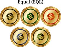 Set of physical golden coin Equal EQL. Digital cryptocurrency. Equal EQL icon set. Vector illustration isolated on white background Royalty Free Stock Images