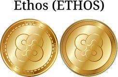 Set of physical golden coin Ethos ETHOS, digital cryptocurrency. Ethos ETHOS icon set. stock illustration