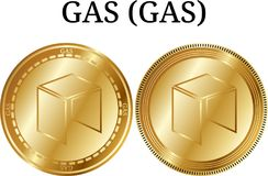 Set of physical golden coin GAS GAS, digital cryptocurrency. GAS GAS icon set. stock illustration