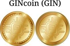 Set of physical golden coin GINcoin GIN Stock Photo