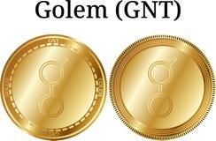 Set of physical golden coin Golem GNT, digital cryptocurrency. Golem GNT icon set. royalty free illustration
