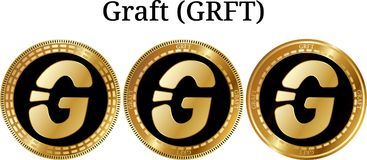 Set of physical golden coin Graft GRFT. Digital cryptocurrency. Graft GRFT icon set. Vector illustration isolated on white background Royalty Free Stock Image
