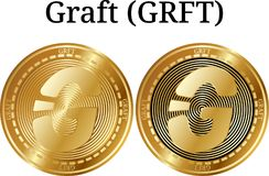 Set of physical golden coin Graft GRFT. Digital cryptocurrency. Graft GRFT icon set. Vector illustration isolated on white background Royalty Free Stock Photos
