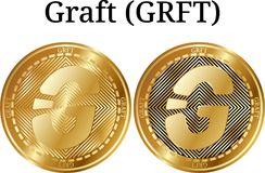 Set of physical golden coin Graft GRFT. Digital cryptocurrency. Graft GRFT icon set. Vector illustration isolated on white background Royalty Free Stock Images
