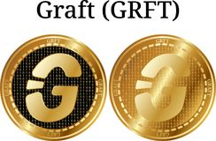Set of physical golden coin Graft GRFT. Digital cryptocurrency. Graft GRFT icon set. Vector illustration isolated on white background Stock Photo