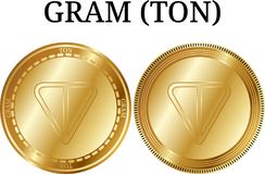 Set of physical golden coin GRAM TON. Digital cryptocurrency. GRAM TON icon set. Vector illustration isolated on white background Royalty Free Stock Photo