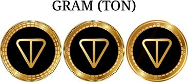 Set of physical golden coin GRAM TON. Digital cryptocurrency. GRAM TON icon set. Vector illustration isolated on white background Stock Images