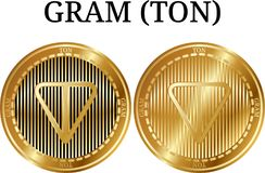 Set of physical golden coin GRAM TON. Digital cryptocurrency. GRAM TON icon set. Vector illustration isolated on white background Royalty Free Stock Image