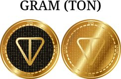 Set of physical golden coin GRAM TON. Digital cryptocurrency. GRAM TON icon set. Vector illustration isolated on white background Stock Photos