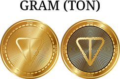 Set of physical golden coin GRAM TON. Digital cryptocurrency. GRAM TON icon set. Vector illustration isolated on white background Royalty Free Stock Images