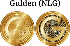 Set of physical golden coin Gulden NLG Stock Images