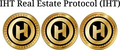 Set of physical golden coin IHT Real Estate Protocol IHT. Digital cryptocurrency. IHT Real Estate Protocol IHT icon set. Vector illustration isolated on white Stock Images
