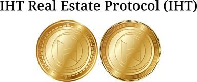 Set of physical golden coin IHT Real Estate Protocol IHT. Digital cryptocurrency. IHT Real Estate Protocol IHT icon set. Vector illustration isolated on white Royalty Free Stock Photo