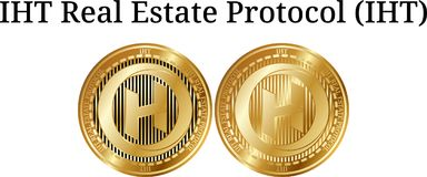 Set of physical golden coin IHT Real Estate Protocol IHT. Digital cryptocurrency. IHT Real Estate Protocol IHT icon set. Vector illustration isolated on white Stock Photos
