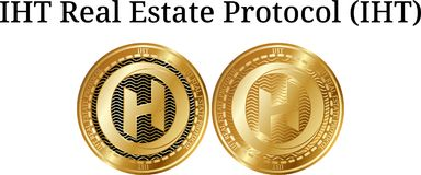 Set of physical golden coin IHT Real Estate Protocol IHT. Digital cryptocurrency. IHT Real Estate Protocol IHT icon set. Vector illustration isolated on white Royalty Free Stock Images