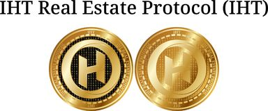 Set of physical golden coin IHT Real Estate Protocol IHT. Digital cryptocurrency. IHT Real Estate Protocol IHT icon set. Vector illustration isolated on white Royalty Free Stock Photography