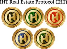 Set of physical golden coin IHT Real Estate Protocol IHT. Digital cryptocurrency. IHT Real Estate Protocol IHT icon set. Vector illustration isolated on white Stock Photo